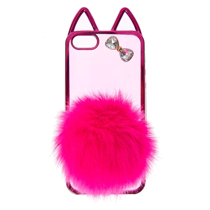 Hot Pink Cat With Pom Tail Phone Case Claire S Us