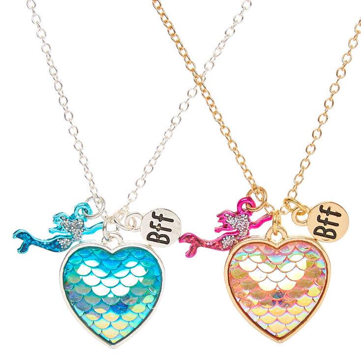 Best Friends Mermaid Scales Heart Pendant Necklaces