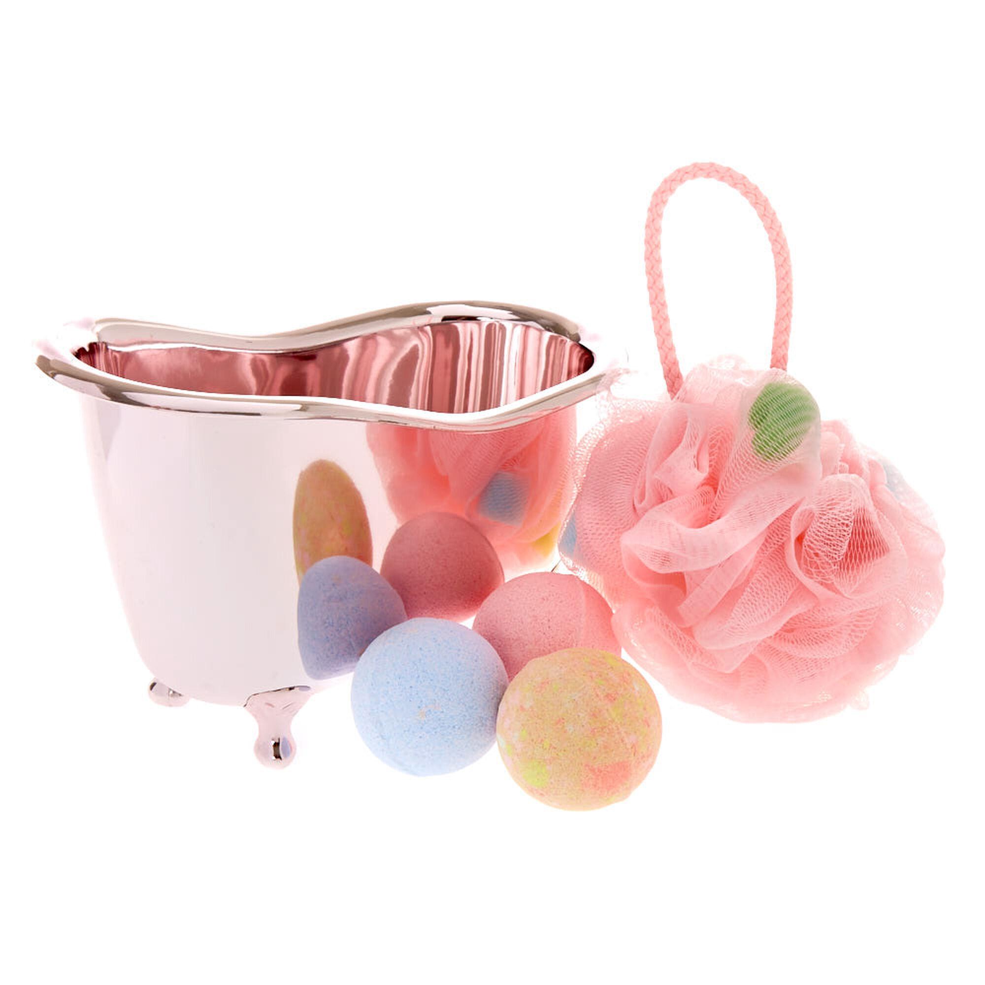 Rose gold tub bath set claire 39 s us for Rose gold bathroom set