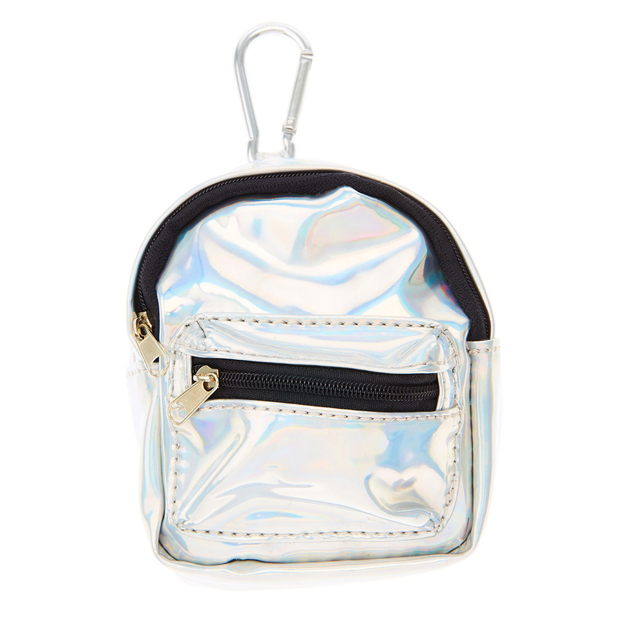 Silver Holographic Mini Backpack Purse Keychain | Claire's US