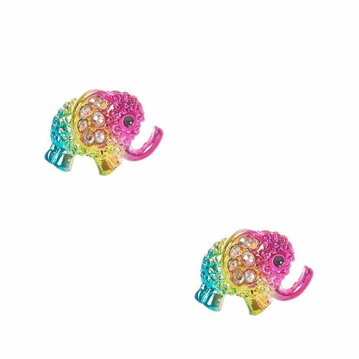 rhinestone elephant stud earrings claires us