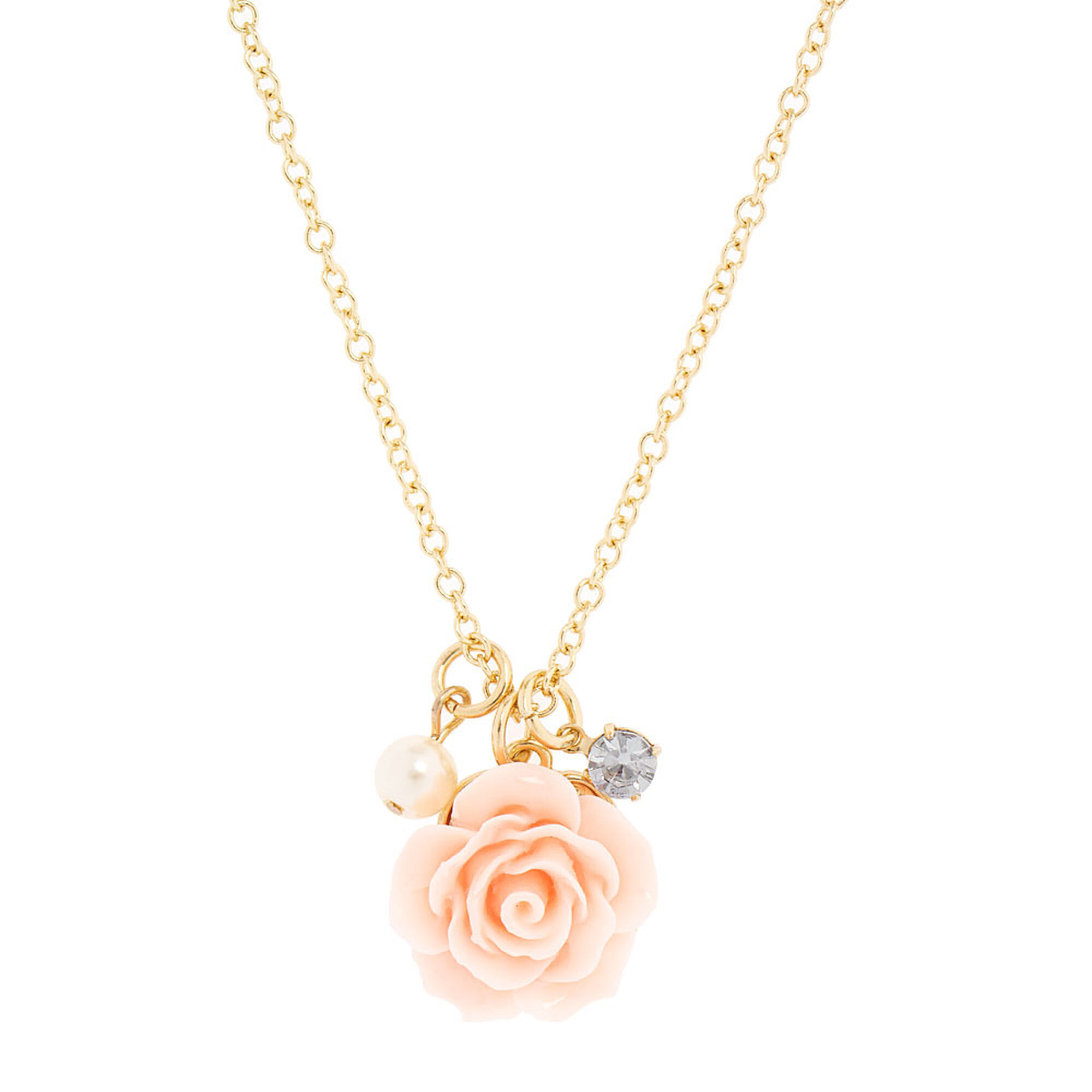 Pink carved rose pendant necklace claires pink carved rose pendant necklace audiocablefo light ideas
