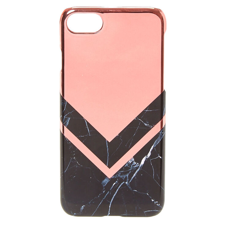 Rose Gold Toned And Black Marble Print Phone Case Claire S