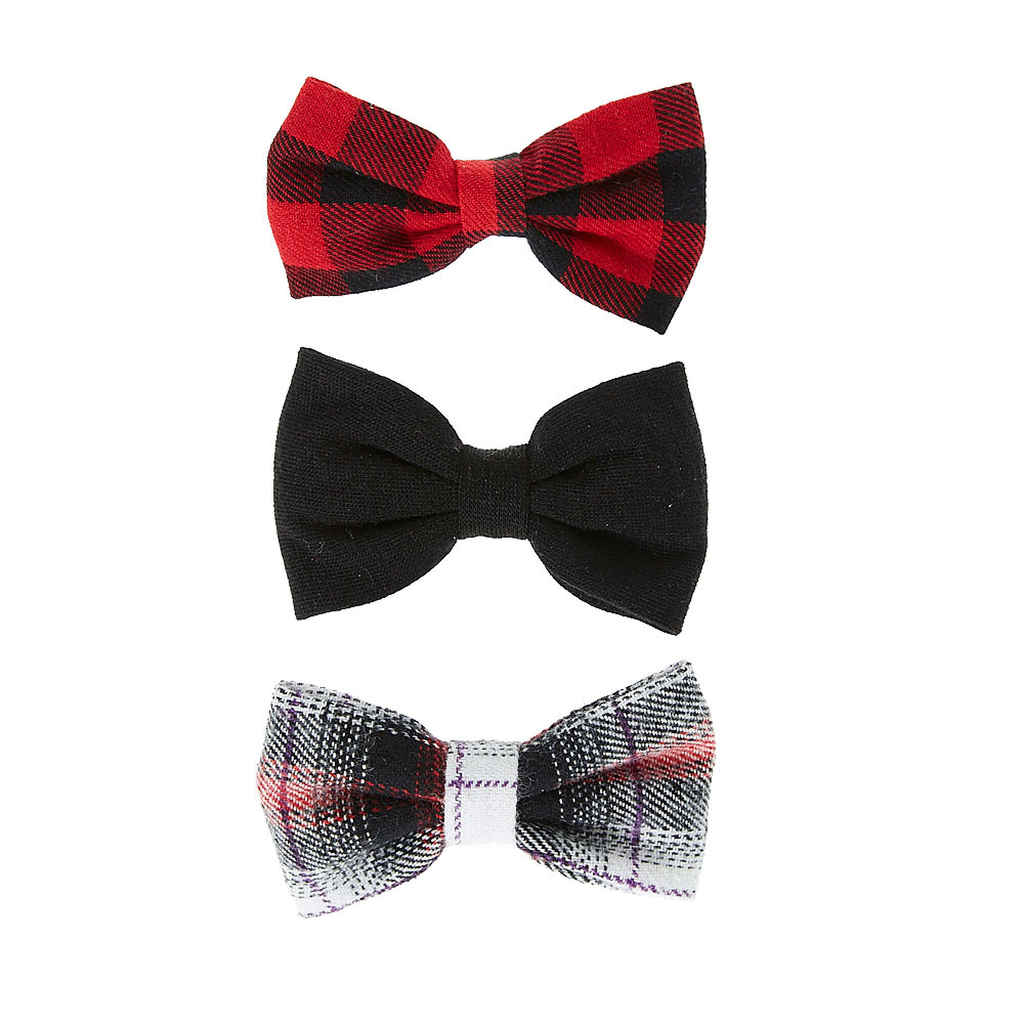 Red And Black Plaid Mini Bow Hair Clips Claire S Us