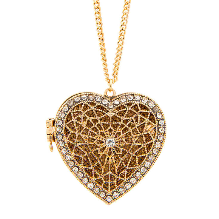 Antique gold crystal accent filigree heart locket pendant necklace antique gold crystal accent filigree heart locket pendant necklace aloadofball Choice Image