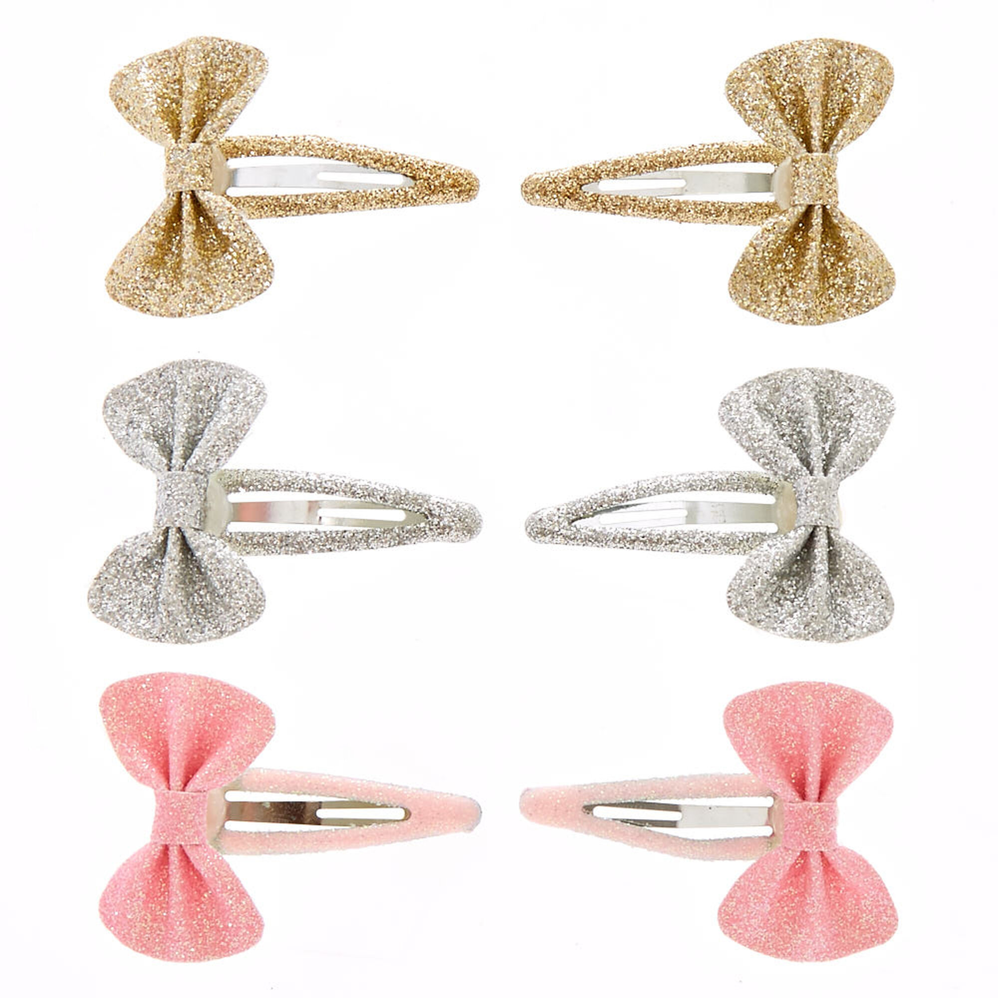 Kids 4 Pack Gold And Silver Glitter Bow Hair Clips