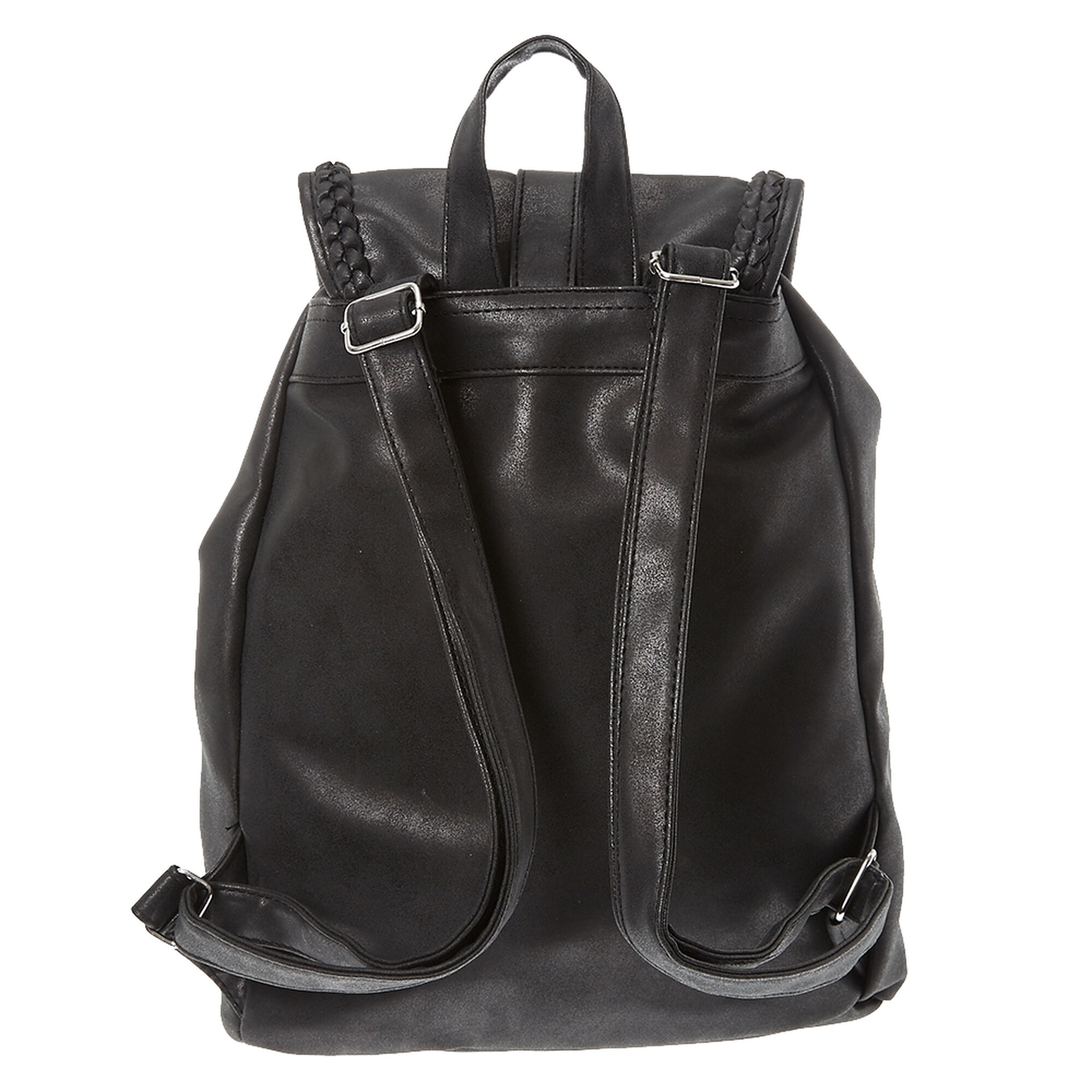 Black Faux Leather Braided Backpack | Claire's US