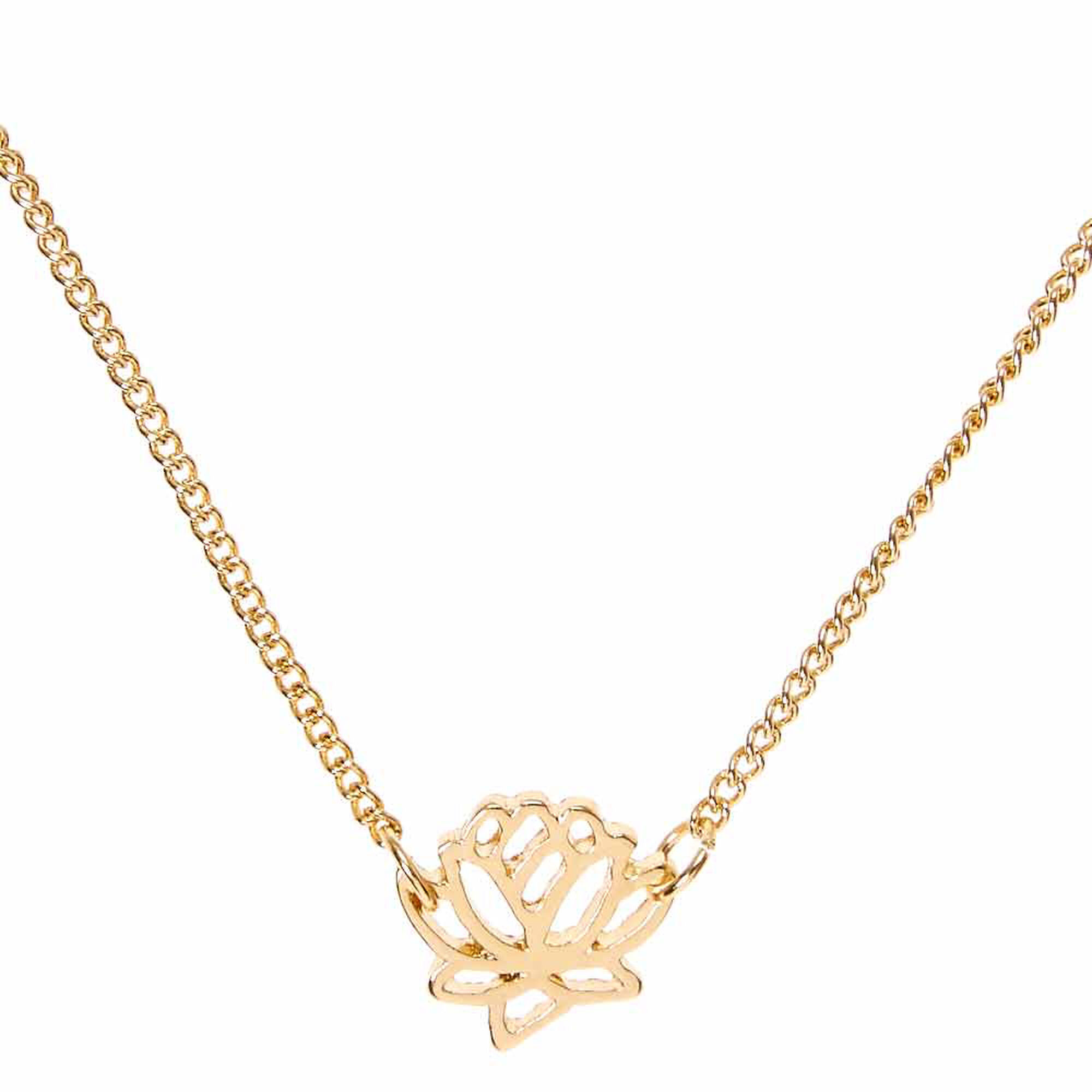 Gold tone lotus pendant necklace claires us gold tone lotus pendant necklace mozeypictures Image collections