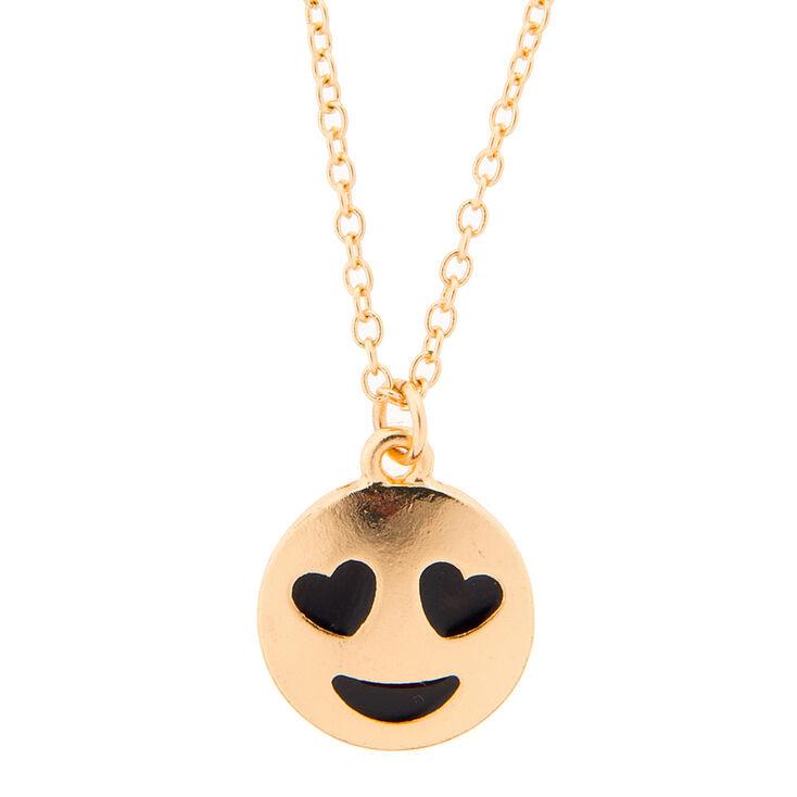 Gold Emoji Heart Eyes Pendant Necklace