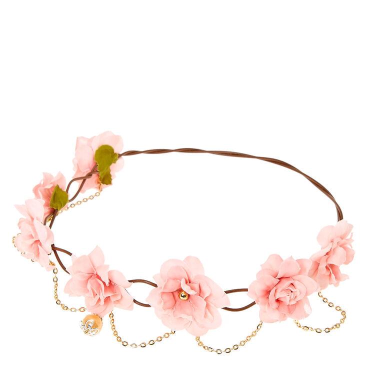 couronne pour les cheveux fleurs roses et fausse perle. Black Bedroom Furniture Sets. Home Design Ideas