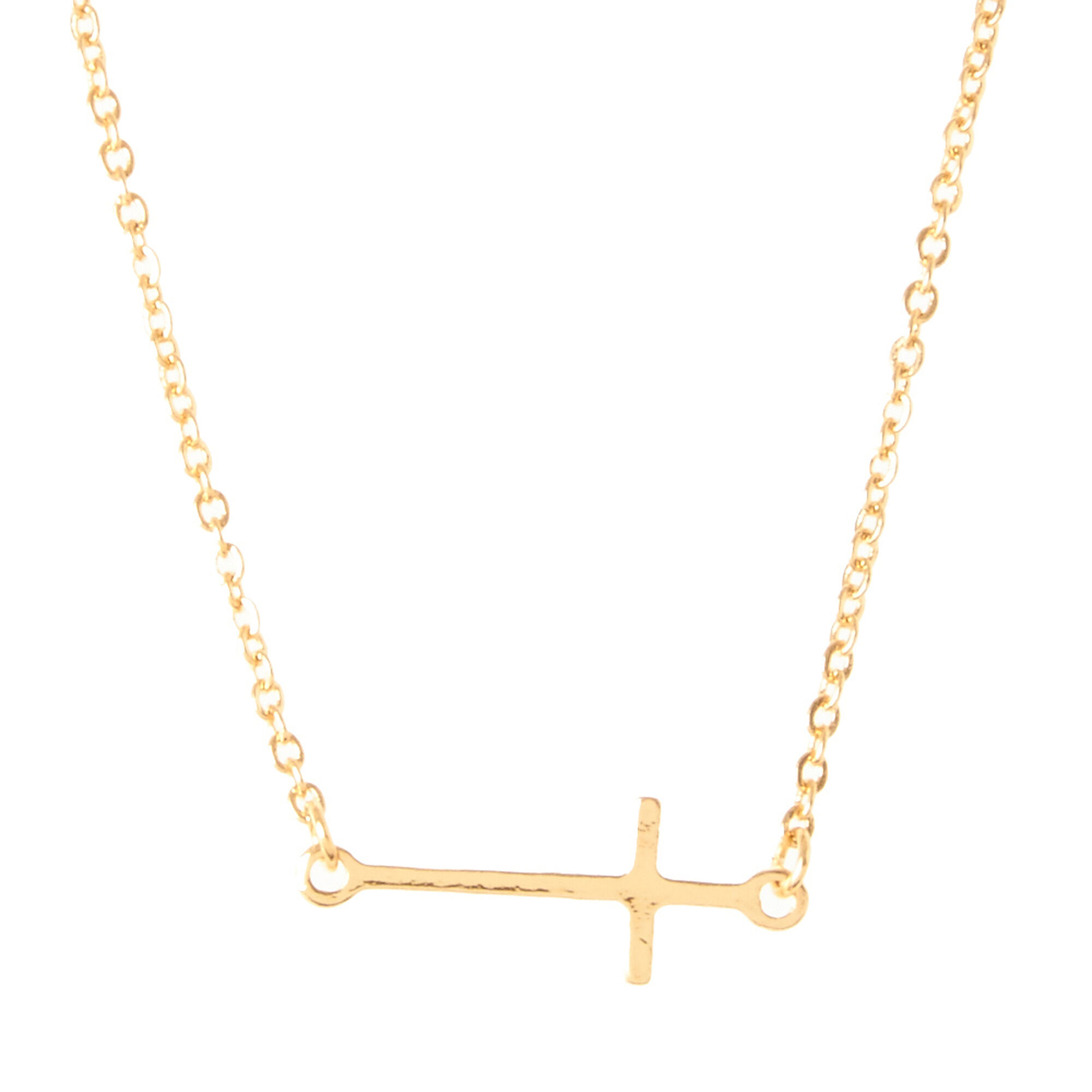 Gold cross necklace claires gold cross necklace mozeypictures Image collections