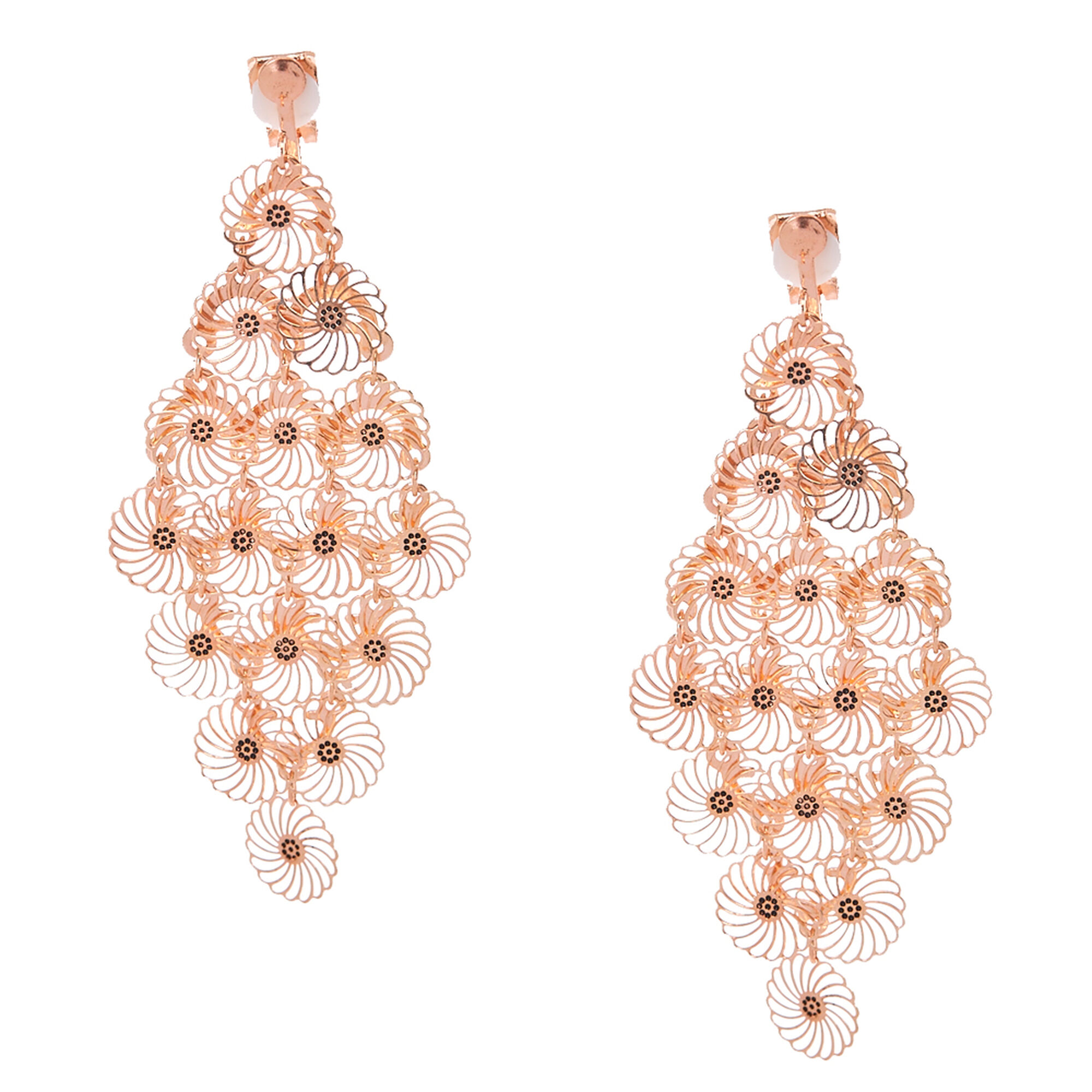 Rose gold tone filigree flower clip on chandelier drop earrings rose gold tone filigree flower clip on chandelier drop earrings arubaitofo Image collections