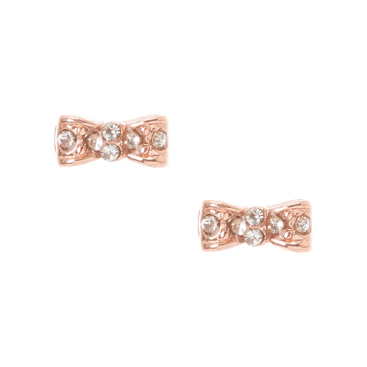 Gold Plated Rose Gold Crystal Bow Earrings