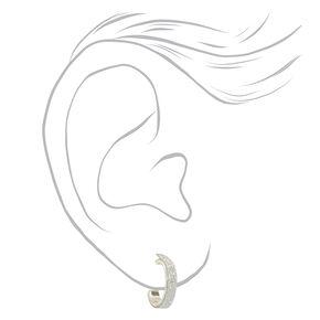 Silver 10MM Thin Glitter Hoop Earrings,