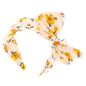 Yellow Flower Bow Headband - White,
