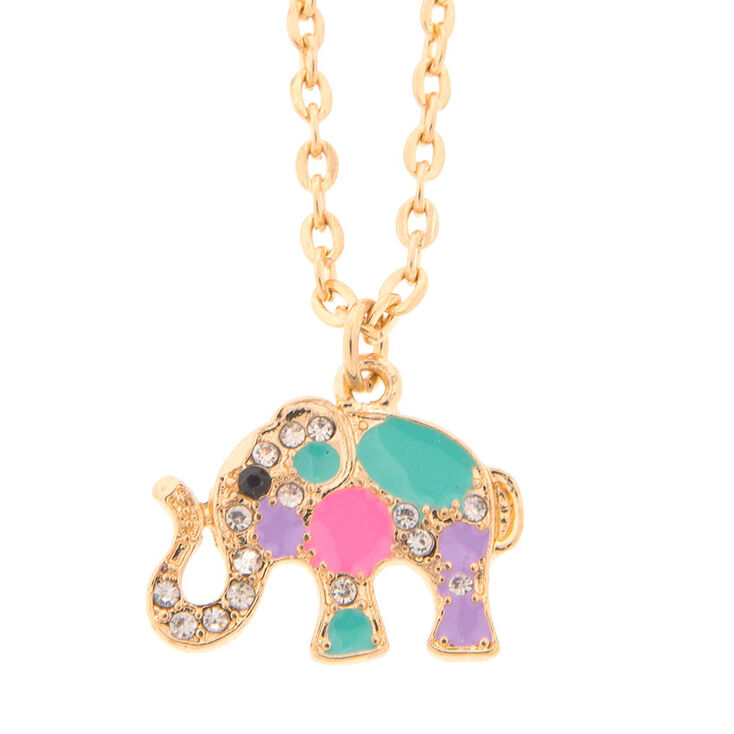 Gold jeweled elephant pendant necklace claires us gold jeweled elephant pendant necklace aloadofball Gallery