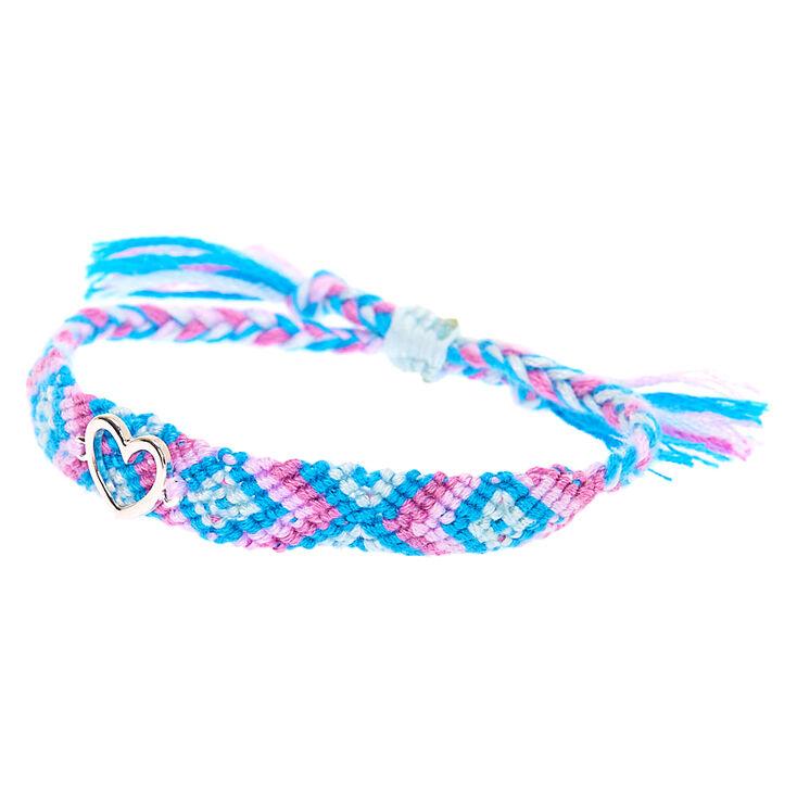 Pastel Woven Heart Adjustable Bracelet,