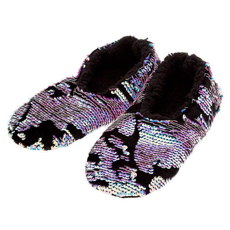 504ea85d388 Velvet Reversible Sequin Slippers - Black