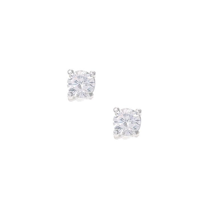 Sterling Silver Cubic Zirconia 4MM Stud Earrings,