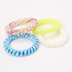 Rainbows & Clouds Spiral Hair Ties - 4 Pack,