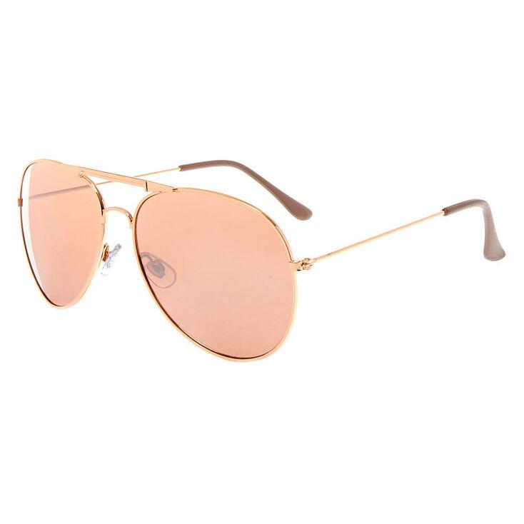 Aviator Sunglasses - Rose Gold,