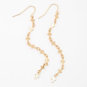 """Gold 3"""" Cross Linear Drop Earrings,"""