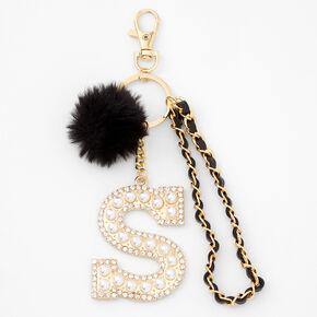 Gold Bling Initial Pom Pom Keyring - Black, S,