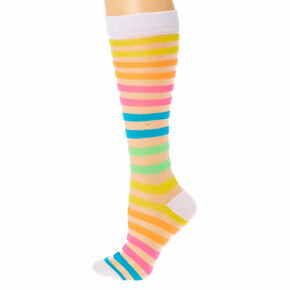 Neon Rainbow Striped Sheer Knee High Socks,