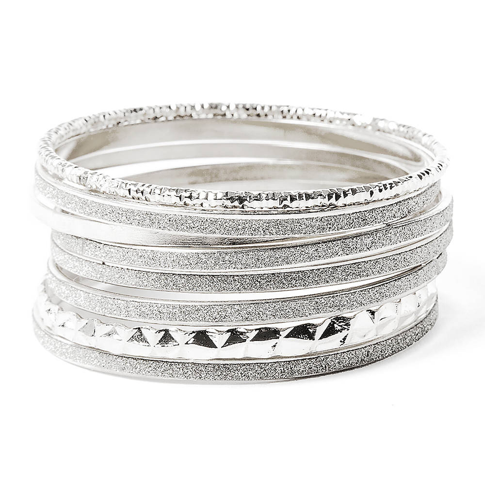 8 Pack Glitter & Textured Silver Bangles | Claire\'s US