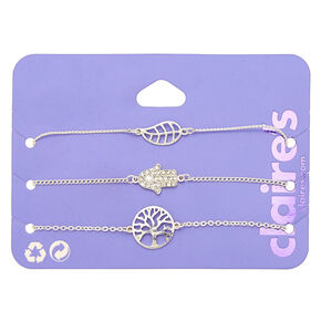 Silver Nature Icon Chain Bracelets - 3 Pack,