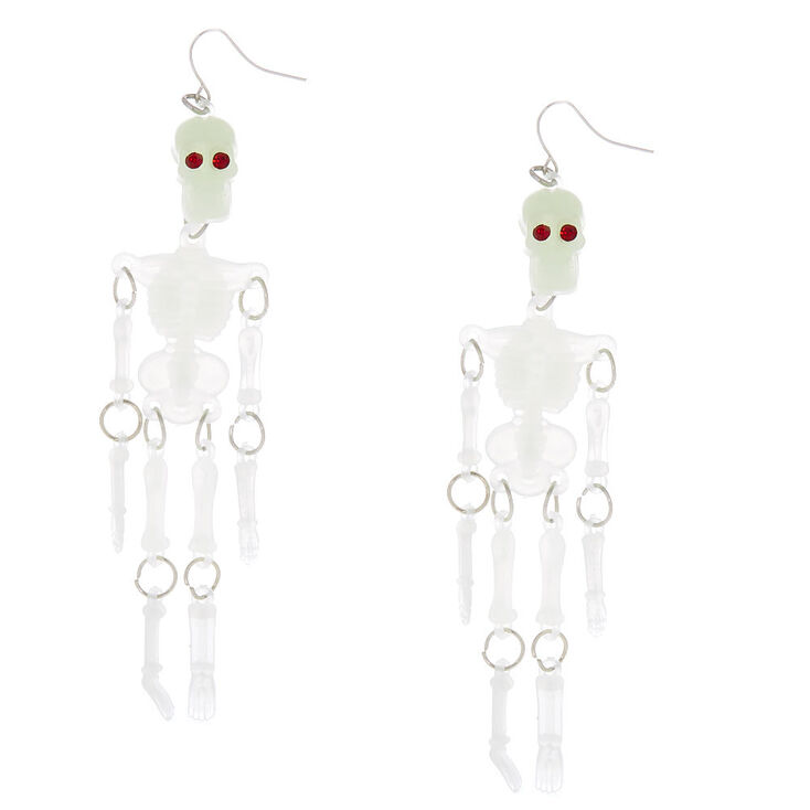 4 Glow In The Dark Dangling Skeleton Drop Earrings White
