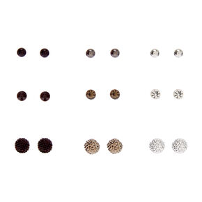 Mixed Metal Fireball Magnetic Stud Earrings - 9 Pack,