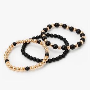 Black & Gold Matte Beaded Stretch Bracelets - 3 Pack,