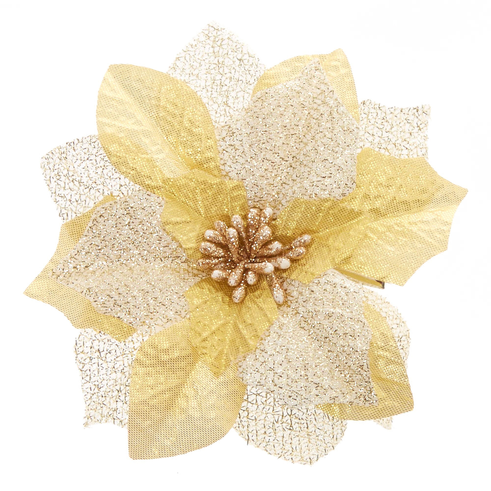 Gold poinsettia flower hair clip claires us gold poinsettia flower hair clip mightylinksfo