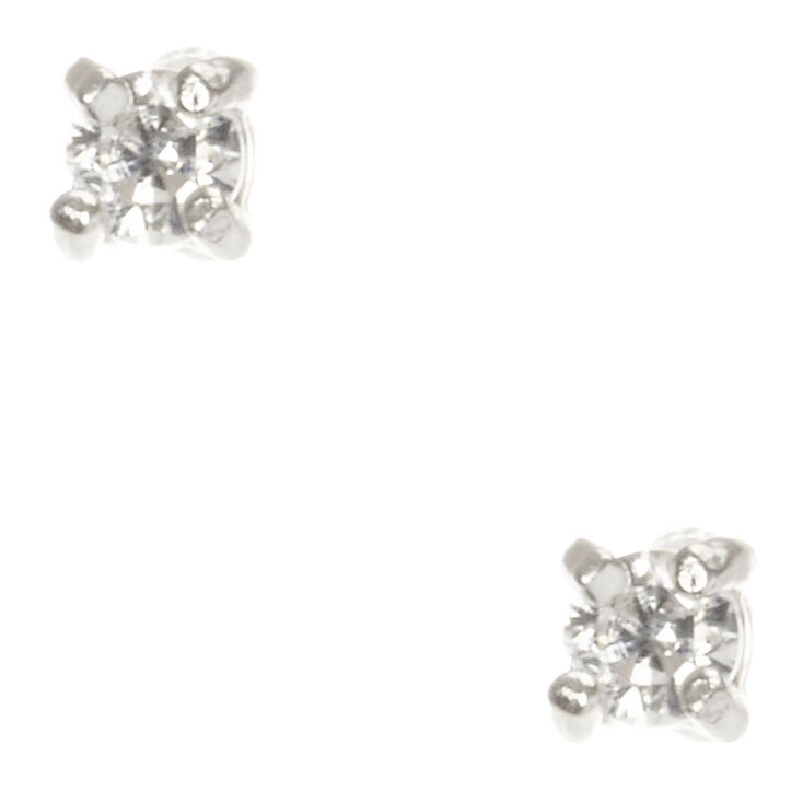 9bcc78da2 2MM Sterling Silver Cubic Zirconia Stud Earrings | Claire's US