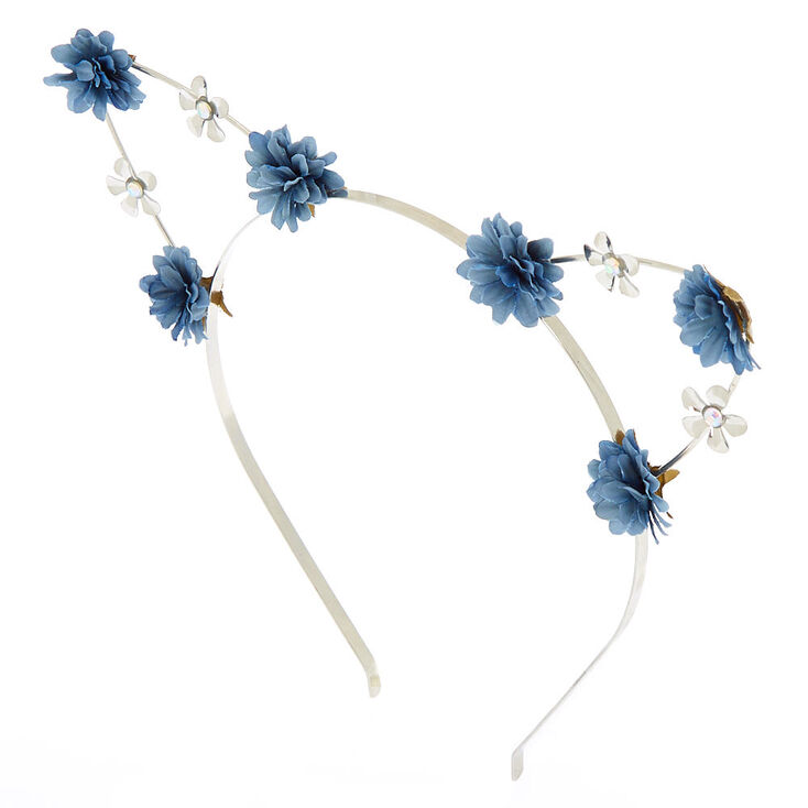 Silver Flower Girl Cat Ears Headband - Navy  c4ab8523459