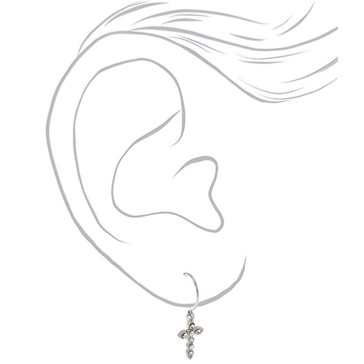 Silver 10MM Cross Huggie Hoop Earrings,