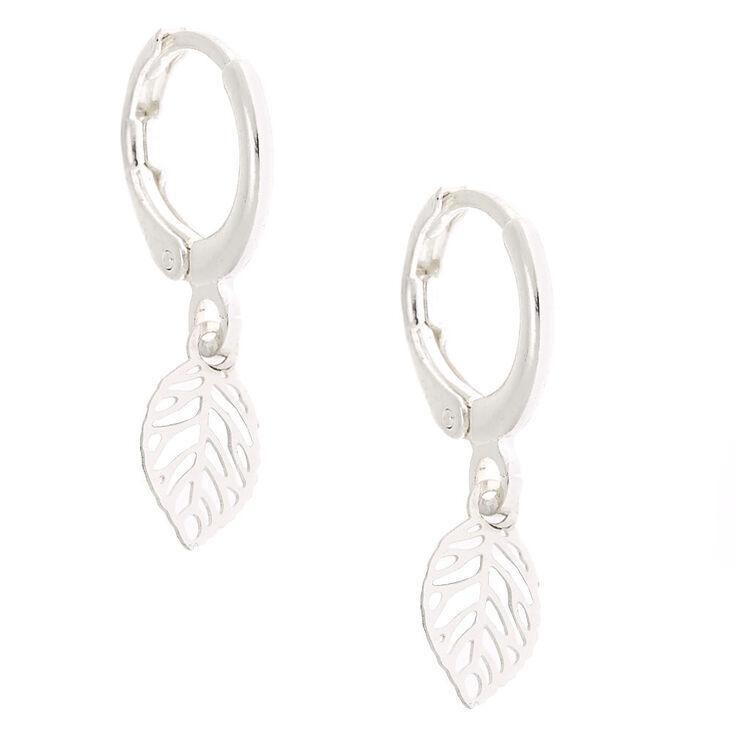 Silver 10MM Leaf Huggie Hoop Earrings,