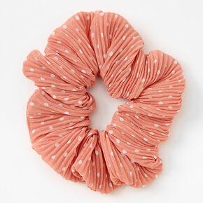 Medium Pleated Polka Dot Hair Scrunchie - Blush,