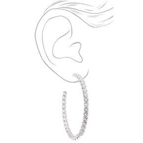 Silver 60MM Cubic Zirconia Hoop Earrings,