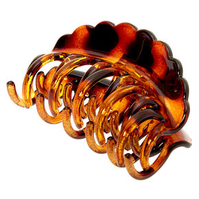 Small Tortoiseshell Double Tooth Hair Claw - Brown,