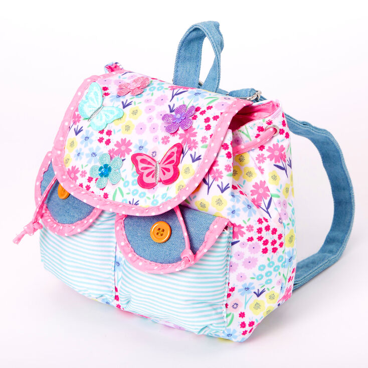 Claire's Club Floral Butterfly Denim Mini Backpack - Pink,