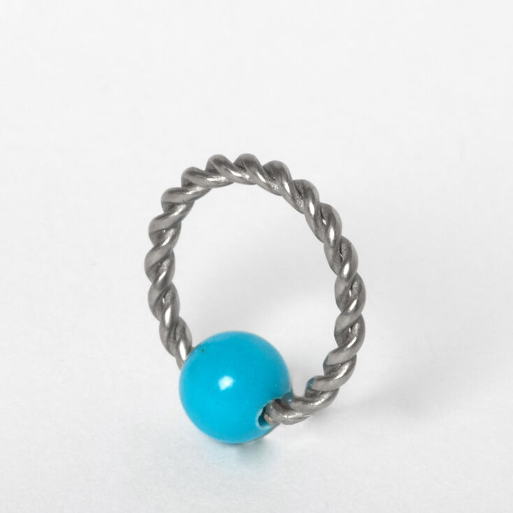 Silver Titanium 16G Twisted Cartilage Hoop Earring - Turquoise,