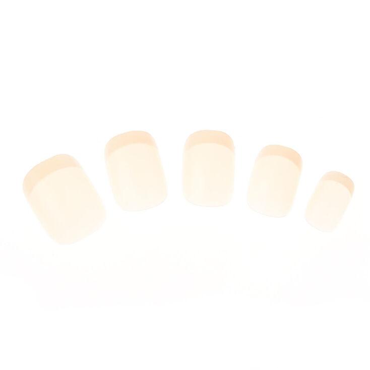 Lot de 24 faux ongles manucure de style français couleur neutre,