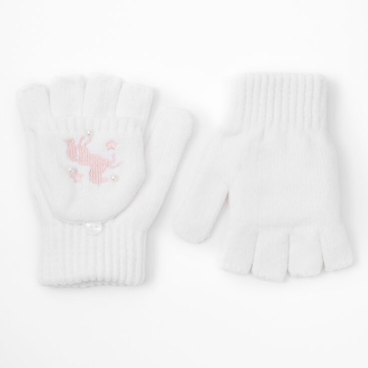 Unicorn Fingerless Gloves With Mitten Flap - White,