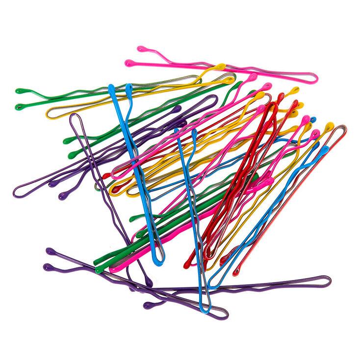 Neon Rainbow Bobby Pins - 30 Pack,