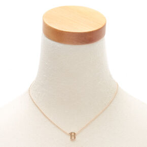 Gold Stone Initial Pendant Necklace - B,