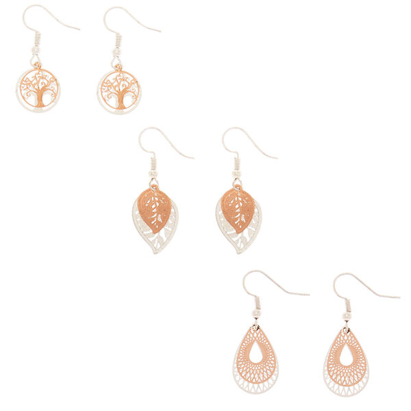 Claire's - mixed metal filigree drop earrings - 1