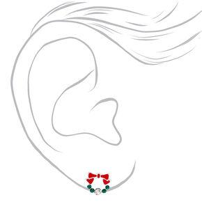 Clous d'oreilles couronne de Noël couleur argentée,