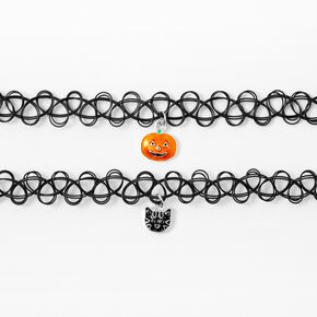Pumpkin Cat Tattoo Choker Necklaces - Black, 2 Pack,